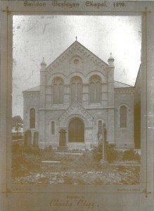 A presentation photo of the present Church taken at the time of its opening in 1890.  The photo was given to Charles Clegg, who later kept a greengrocer's shop in Northgate