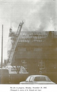 The fire in progress, Monday 29th November 1982